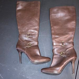 Tall Ralph Lauren brown leather boots